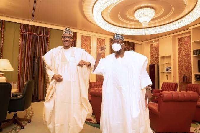 Buhari, Lawan meet behind 'closed door' in Abuja (Photos)